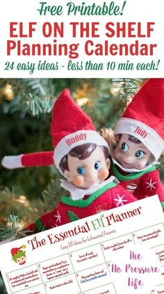 Elf on the Shelf is a fun Christmas countdown tradition, but sometimes you forget to move the elf! This printable Elf on the Shelf planning calendar is filled with easy ideas kids (and their adults) will love. Each simple move for the elves takes less than 10 minutes, and there are ideas for the whole month of December! Click here to get your free printable calendar. #ElfOnTheShelf #Christmas #ChristmasTradition #FreePrintable