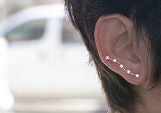 Five-Star Ear Cuff, Five Stars Ear Crawlers, Pin Earrings, Silver Constellation Earrings, Star Ear Sweeps, Wrap, Silver 5 Star Earrings, Pin