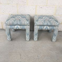 Vintage Parsons Stools Upholstered in Designer Flame Stitch Fabric - a Pair - Image 2 of 8