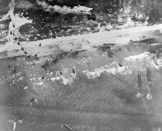 Normandy overhead view of the Normandy coastline during the invasion on June 6, 1944.