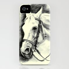 Horse-portrait iPhone Case by Vargamari - $35.00 - Charcoal horse-portrait, from the Horse-series