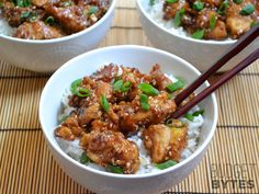 Easy Sesame Chicken (sub brown rice, serve with frozen sugar snap peas, carrots, broccoli)
