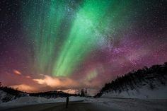 aurora borealis night sky long exposure photography
