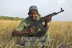 Armed game warden at Maputo Elephant Reserve , Mozambique , Africa stock photo