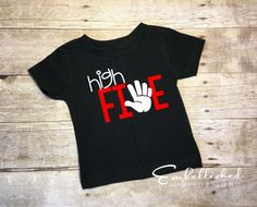 Five Year Old Birthday Shirt, High Five, 5th Birthday Shirt, 5 Year Old Birthday Shirt, 5th Birthday Boy Outfit, Birthday Tee, Hipster Kid by EmbellishedBD on Etsy