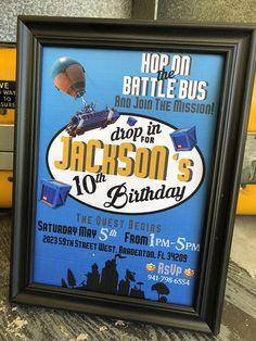 FORTNITE Invitation Fortnite Birthday Party Invitationprintable Personalized Fortnitevideo Game Battle Bus