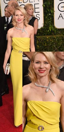 Naomi Watts added some sparkle to her canary yellow Gucci column dress with a Bulgari diamond Serpenti necklace and a diamond circle brooch which she wore at her waist.