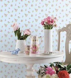 by  England's Finest   'Rose Buds' by England's Finest features a small scale delicate roses, perfect for smaller walls & rooms  click here if you wish to order samples  paste the paper  pattern repeat 6 in roll 20.5 in wide, 33 ft long coverage 56 sq. ft.