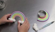 Rainbow fondant topper with clouds. Sharon Wee shows us how to create an amazing Fondant Rainbow Cake Topper with her easy, inspiring tutorial. You'll be making your own in no time!Search for Rainbow - Queen Fine FoodsUnicorn Cake Tutorial Decorated Fondant Cake Toppers, Fondant Cakes, Cupcake Cakes, Cupcakes, Cake Topper Tutorial, Fondant Tutorial, Rainbow Cake Tutorial, Cloud Tutorial, Fondant Rainbow