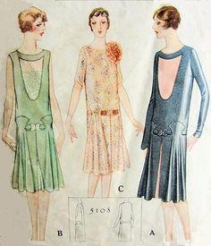 1920s FLAPPER DRESS PATTERN BEAUTIFUL DROP WAIST DESIGN 3 VERSIONS McCALL PATTERNS 5108