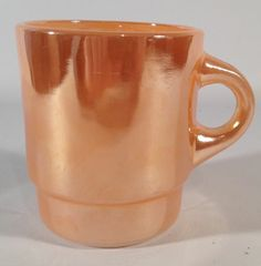 Vintage Fire King Peach Lustre Luster Glass C-Handle Cup Mug 50's Anchor Hocking