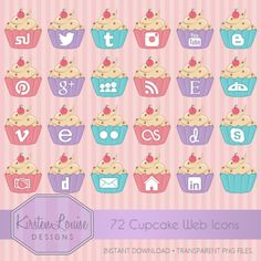Social Media Icons - Cupcakes by ThatArtistChick (scheduled via http://www.tailwindapp.com?utm_source=pinterest&utm_medium=twpin&utm_content=post83535137&utm_campaign=scheduler_attribution)