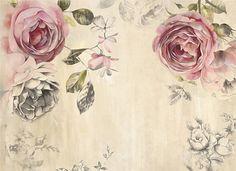 Vintage papel pintado rosa poesía flores de la pared etiqueta