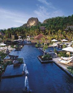 Four Seasons Hotel in Langkawi. Langkawi is an archipelago of 104 islands in the Andaman Sea, some 30 km off the mainland coast of northwestern Malaysia Kuala Lumpur, Malaysia Resorts, Malaysia Travel, Putrajaya, Four Seasons Hotel, Beach Resorts, Hotels And Resorts, Luxury Resorts, Family Resorts