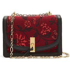 Altuzarra Ghianda floral-brocade shoulder bag (14 365 SEK) ❤ liked on Polyvore featuring bags, handbags, shoulder bags, clasp purse, red handbags, shoulder hand bags, chain strap handbag and floral print purse