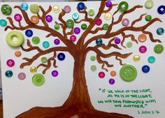 We made these at the Nursing Home for Arbor Day, but they can be utilized for any craft day. The residents loved this craft! #nursinghome #activities #crafts #trees #buttons #bibleverse