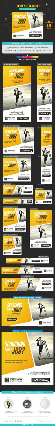 Hiring Banners — Photoshop PSD #deal #banners • Available here → https://graphicriver.net/item/hiring-banners/16568253?ref=pxcr