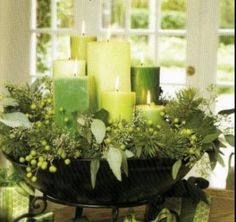 Green and white candles instead of flowers. Could still have them on tall vases