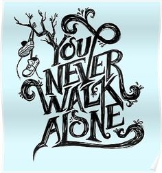 'You Never Walk Alone - BTS - Black Text (on Blue)' Poster by Dandimator Black And White Stickers, Bts Black And White, Black And White Drawing, Art Drawings For Kids, Bts Drawings, Bts You Never Walk Alone, You Never Walk Alone Bts Wallpaper, Alone Tattoo, Fanart Bts