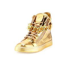 GIUSEPPE ZANOTTI Gold Metallic Leather 'London' Chain Link High-Top... ($1,125) ❤ liked on Polyvore featuring shoes, sneakers, metallic gold high top sneakers, giuseppe zanotti sneakers, high-top sneakers, leather hi top sneakers and high top leather shoes