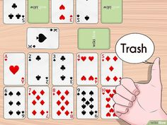 How to Play Trash. Trash is an easy card game that can be played by just about all ages. Play it with kids to teach them about numbers or with a group of adults to quickly pass the time. The game requires 1 standard deck of cards for two. Family Card Games, Fun Card Games, Card Games For Kids, Playing Card Games, Fun Games, Games To Play, Kids Playing, Solo Card Games, Dice Games