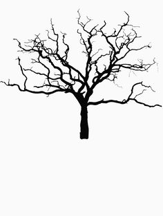 'Minimalist Bare Naked Dead Tree Silhouette Outline for Autumn Fall' T-Shirt by RowdyRouton Dead Tree Tattoo, Tree Branch Tattoo, Pine Tree Tattoo, Tree Tattoos, Oak Tree Silhouette, Tree Silhouette Tattoo, Tree Outline, Tattoo Outline, Fall Drawings