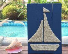 Voilier fait à la main avec corde plage palette Art