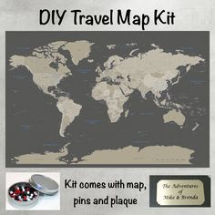 Push Pin Travel Maps - DIY Earth Toned World Push Pin Travel Map Kit, $59.99 (http://www.pushpintravelmaps.com/diy-earth-toned-world-push-pin-travel-map-kit/)