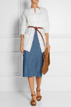 White cable-knit mohair-blend Button fastenings through front mohair, polyamide, wool Dry clean Cable Knit Cardigan, Wrap Sweater, Cashmere Cardigan, Michael Kors Sandals, Michael Kors Collection, Midi Skirt, Skirts, Sweaters, Outfits