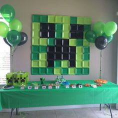 This is a giant minecraft image for a 6th birthday party is featured at the blog Catch My Party. Pop on over to see all the creative diy Minecraft party details. When I spotted this I thought it wo…