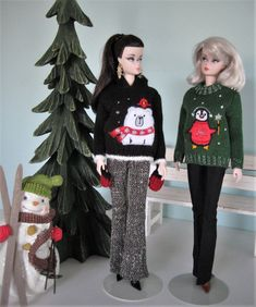 Ugly Christmas sweater for Barbie or Ken or put on your tree as Ornament
