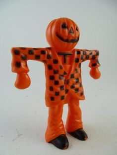 Vintage-Candy-Container-Scarecrow-Pumpkin-Halloween-Plastic-Figurine-4-75-Tall