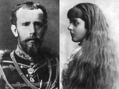"""Combined Photo of Crown Prince Rudolf (Rudolf  Franz Karl Josef) (1858-1889) Austria & his lover Baroness Marie """"Mary"""" Alexandrine Vetsera (1871-1889) Austria by unknown photographer. Intially the deaths were ruled poison but In Jul 2015 Vetsera's letters of farewell to her mother & other family members were found in a safe deposit box in an Austrian bank. Written in Mayerling shortly before their deaths they state clearly that Mary was preparing to commit suicide with Rudolf out of """"love""""."""