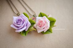 Handmade pendant with roses Purple and Pink rose pendant