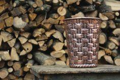 Handmade copper pot basket vase by LaCasadelRame on Etsy