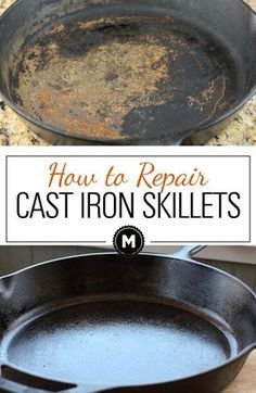 Cleaning a cast iron skillet and reseasoning it for a great nonstick surface. You can return a rusted and old cast iron skillet to almost new! Great on Griswald cast iron skillets! Deep Cleaning Tips, House Cleaning Tips, Diy Cleaning Products, Cleaning Hacks, Cleaning Solutions, Diy Hacks, Cleaning Recipes, Green Cleaning, Organizing Tips