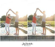 dancing engagement photo during sunset Joymichellephotography.com