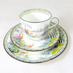 Art Deco Temple Garden Trio, Fenton Abbey Scenic Landscape Hand-painted Bone China Tea Cup Saucer & Teaplate Set 1920-30s by keepsies on Etsy £22.00