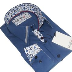 Brand New Mens Formal Smart Casual Italian Design Slim Fit Blue Shirt, With a Lovely Floral Collar and Cuffs Pattern 100% Cotton ONLY £29.99 - FREE UK DELIVERY