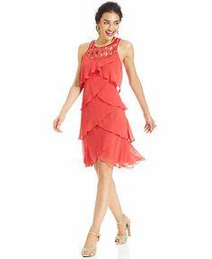 SL Fashions Sleeveless Petal-Tiered Beaded Dress - Dresses - Women - Macy's