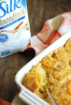 Cheesy and creamy Pumpkin Scalloped Potatoes seasoned with chipotle ...