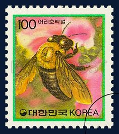 DEFITIVE POSTAGE STAMP (IMSECTS), Carpenter bee, Insect, Yellow, Green, Pink, 1991 04 08, 보통우표, 1991년04월08일, 1637, 어리호박벌, postage 우표