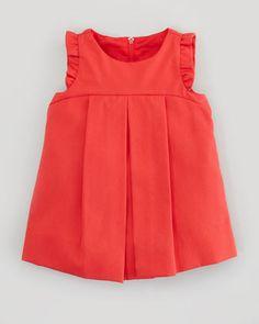 Florence Eiseman Plain Pincord Flutter-Sleeve Dress, Red, 12-24 Months - Bergdorf Goodman