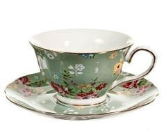 Gracie China Shabby Rose Porcelain 7-Ounce Tea Cup and Saucer Set of 4, Shabby Rose Green: Kitchen & Dining