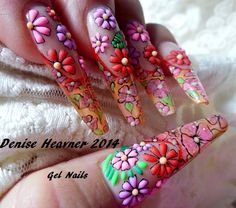 Flower power ....acrylic and gel flowers ...find this tutorial on YouTube ...my channel is Denisejohn65