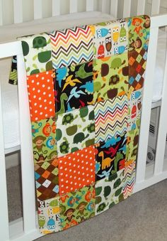 baby boy quilt with monkeys and other animals