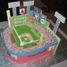 Here's a Fenway Park Grooms Cake for a Baseball Themed Wedding - Boston Red Sox Green Monster in fondant!  #baseballwedding