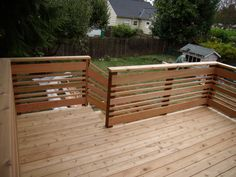 Deck railing isn't just a safety function. It can include a stunning visual to mount a decked area or porch. These 36 deck railing ideas reveal you exactly how it's done! Horizontal Deck Railing, Wood Deck Railing, Deck Railing Design, Stair Railing, Fence Design, Deck Railing Ideas Diy, Patio Stairs, Brick Fence, Pallet Fence