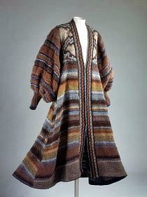 Knitting Patterns Coat Evening coat by Kaffe Fassett, 1979 Coat Patterns, Knitting Patterns, Layered Fashion, Knitted Coat, Knit Dress, Knitwear, Vintage Outfits, Couture, Clothes