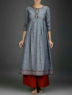 Grey-Red Embroidered Cotton Chambray Kurta with Gathers Kurta Designs Women, Kurti Neck Designs, Blouse Designs, Pakistani Dresses, Indian Dresses, Indian Outfits, Kurti Patterns, Dress Patterns, Indian Attire